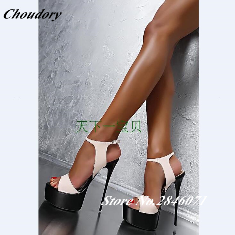 Hot Fashion Summer Women Ultra High Heel Sandals 16cm Sexy Stripper Shoes Party Pumps Shoes Women Gladiator Platform Sandals fashion sexy transparent sandals set auger chain ultra slim heel sandals 12 appeal runway show shoes on sale