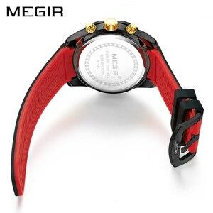 Image 3 - Megir Chronograaf Sport Mannen Horloge Creatieve Siliconen Militaire Horloges Klok Mannen Relogio Masculino Quartz Horloge Uur