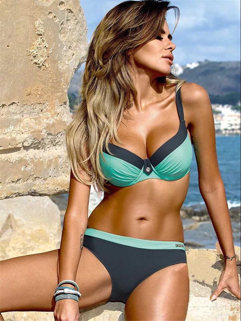 Kích Thước lớn XXL Brasil Bikini Bộ Nữ 2019 Nữ, có Phụ Nữ Gợi Cảm Đệm Đầu Bơi Áo Tắm Đi Biển Nữ