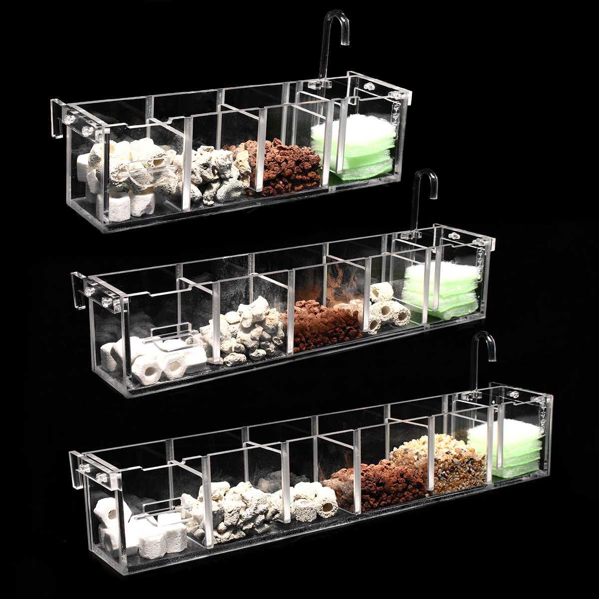 2-6 Grids Fish Tank Aquarium Filter Box Acrylic External Hanging Water Purifier Aquatic Pet Cage Increase Oxygen Filter Supplies