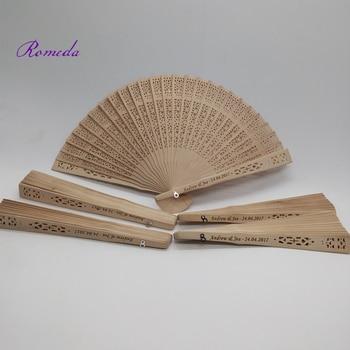 Newest 50pcs/Lot Wedding Personalized Carving Wooden fan Custom Engraving Sandalwood Hand Fan Wedding Gift