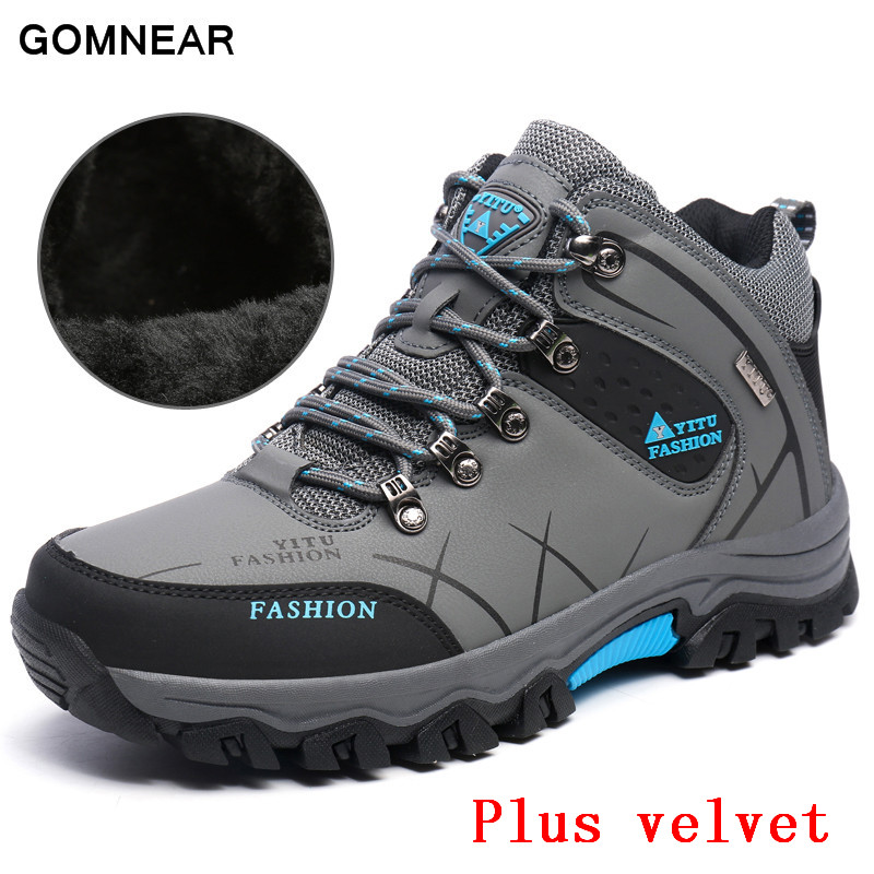 ФОТО GOMNEAR HIgh Quality Warm Hiking shoes Men Outdoor Leisure Plus velvet Breathable hunting tourism trekking Big Size sport boots
