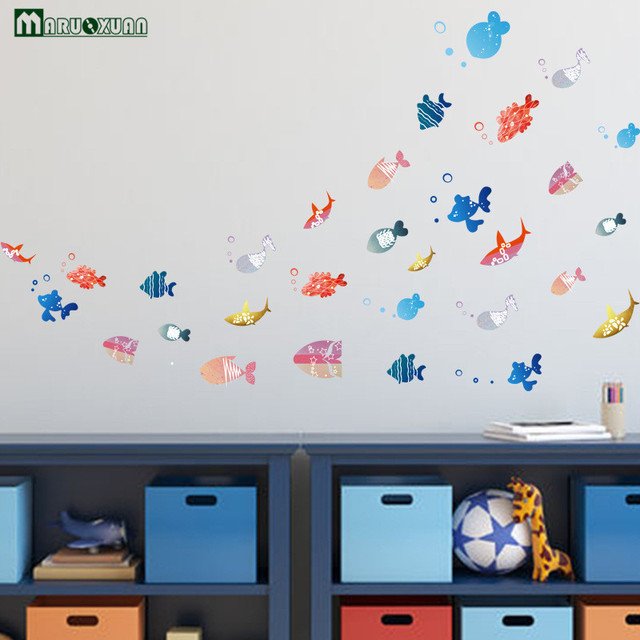 yunxi cartoon leuke vis kleuterschool decoratie stickers badkamer toiletten zwembad stickers behang muurstickers
