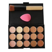 Natural Professional Concealer Palettes 15 Colors makeup Foundation Facial Face Cream Cosmetic make up color brush 10*15cm(China)