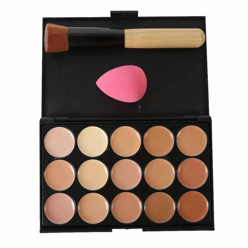 Paletas de Corretivo Profissional naturais 15 Cores Fundação maquiagem Facial Creme Para o Rosto de Cosméticos make up escova cor 10*15 centímetros