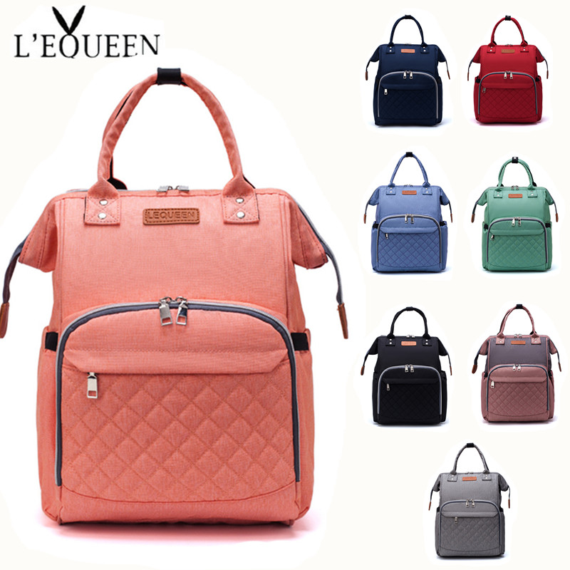 Lequeen Diaper Bag Nappy Bag Baby Care Outdoor Stroller Organizer Bag Waterproof Travel Maternity Patchwork Bag Nursing Backpack