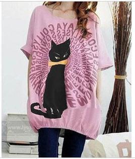 Maternidad de moda de verano Camiseta manga corta de algodón lindo gato impreso camisa medio-larga de las mujeres embarazadas suéter flojo ocasional top