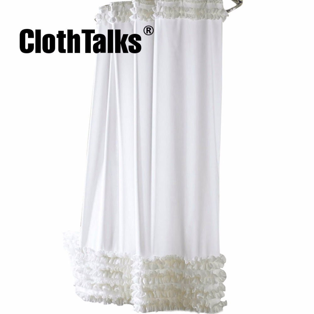 Ruffles Shower Curtain Liner Water Repellent Mildew Free Polyester ...