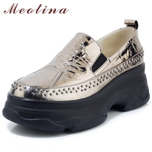 Meotina Casual Flats Women Shoes Natural Genuine Leather Flat Platform Shoes Real Leather Round Toe Shoes Lady Autumn Size 34-39
