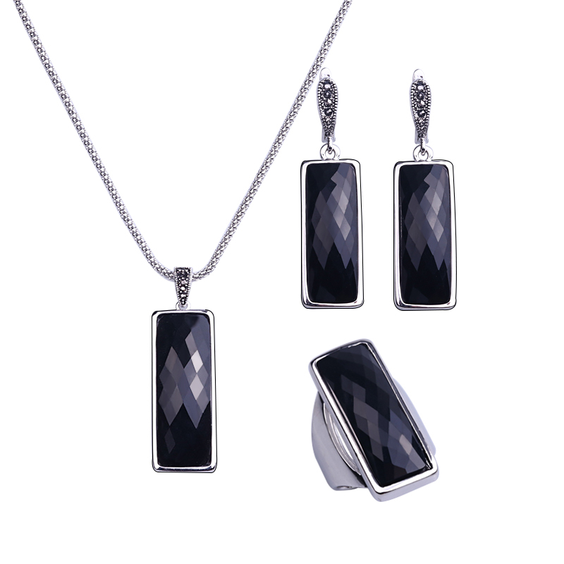 HENSEN Unique Silver Plated Jewellery Set Faceted Square Shape Black Resin Fashion Jewelry Sets Women Gift