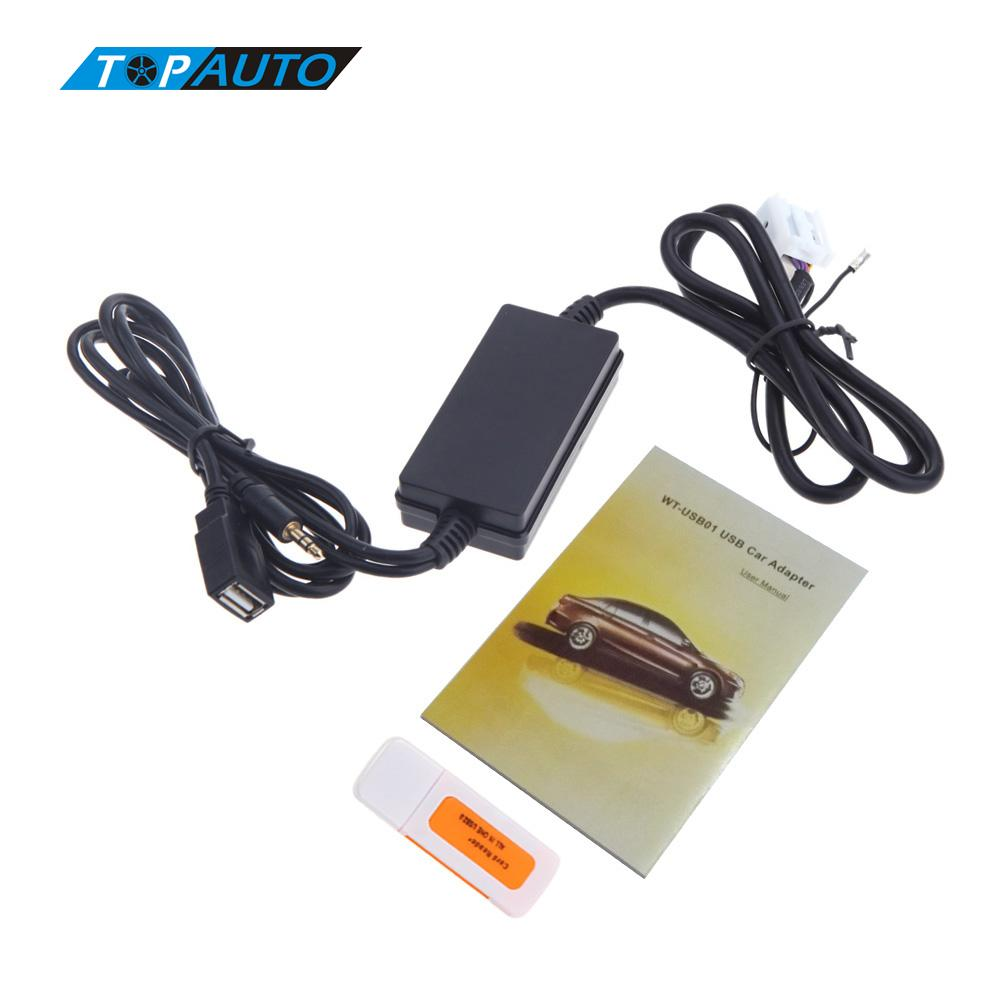 imágenes para Nuevo Auto Car MP3 Player Radio Interface aux-in Adaptador USB para VW Audi Skoda Asiento 12 Pin