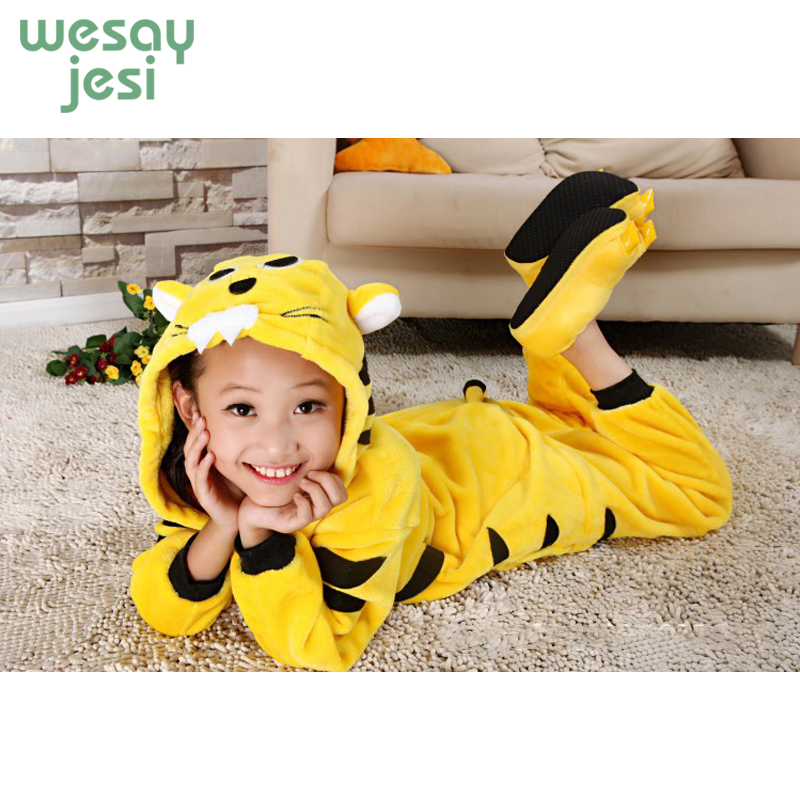 winter girl boy childrens pajamas Unisex baby onesie Cartoon tiger Infantil Flannel clothe kids pajama set Romper Sleepwear