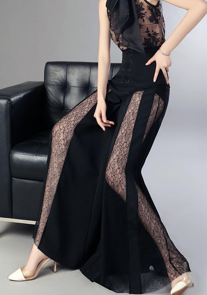 Casual Pantalones Sexy 2018 De Encaje Gasa Pantalones Pierna Moda Realshe Las Ancho Mujeres Cintura La Lateral Verano Alto AZc7gq5gz