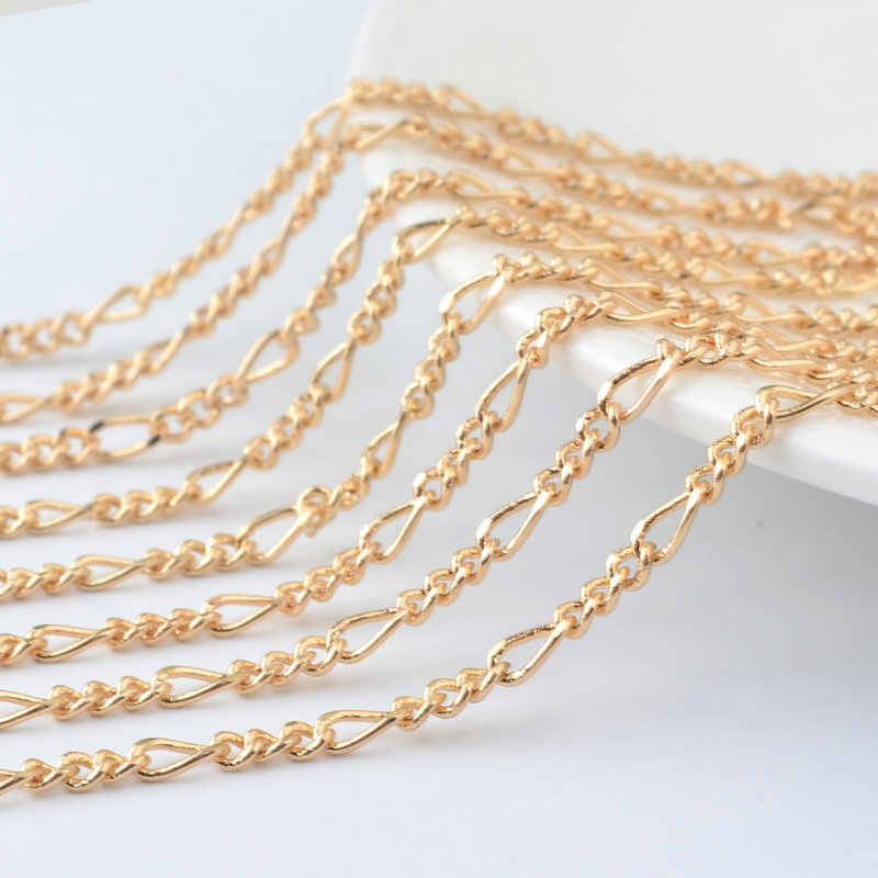 bca5ec6525e 5 Meters Chain width:2.5MM Copper 3+1 Figaro Chains Special Link Chains  Necklace Chains Diy Jewelry Findings Accessories