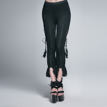 Devil Fashion Gothic Black Ankle Length Skinny Fitness Lace Trim Dance Pants Women High Rise Sexy Elastic Soft Disco Trousers