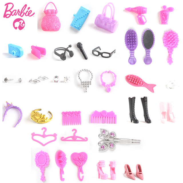 Original Barbie Mix 40pcs/20Pairs Shoes Boots Sandals For Decor Doll Toy Girls Dolls Accessories Play House Party Xmas Gift
