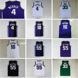 1d05da5b8 4 Chris Webber 16 Peja Stojakovic 55 Jason Williams 10 Mike Bibby 33 Larry  Bird Basketball Stitched Men s Jersey Size S-XXL