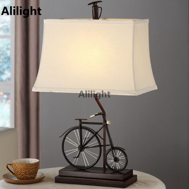 Ordinaire Modern Table Lamps Vintage Bicycle Bedside Table Light For Bedroom Metal  Lamparas De Mesa Creative Desk