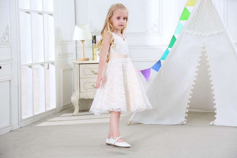 SISRERS Girls party wear clothing for children summer sleeveless lace princess wedding dress girls teenage well party dress 6