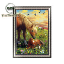FineTime 5D DIY Diamond Embroidery Prairie Landscape Horses Partial Drill Animals Diamond Painting Cross Stitch Mosaic Painting finetime 5d horses