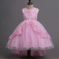 Flower Ruched Trailing Dress Girls Sleeveless Princess Children Wedding Wear Lace Trailing Party Prom Dresses Cloth