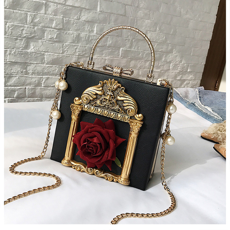 2018 NEW Rose 3D Palace Sculpture Frame Bag Luxury Handbags Women Party Bags Designer Lady Cute Shoulder Messenger Bag Sac Tote 13