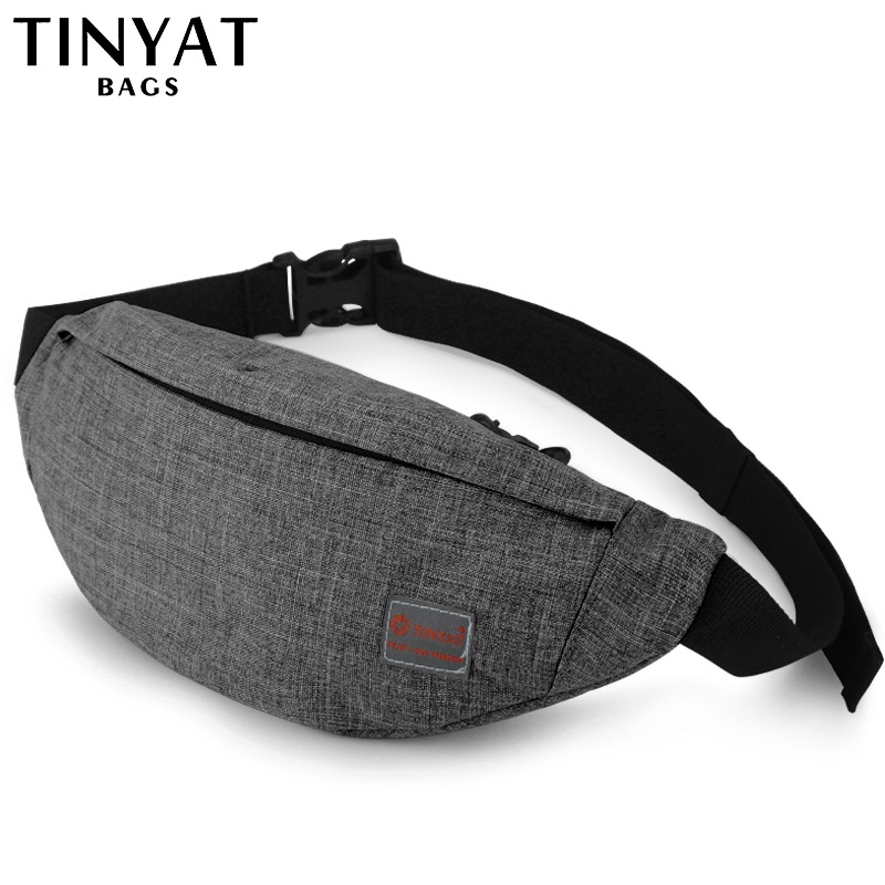 TINYAT Men Male Casual Functional Fanny Bag Waist Bag Money Phone Belt Bag T201 Gray Black Canvas Hip Bag Shoulder Belt Pack