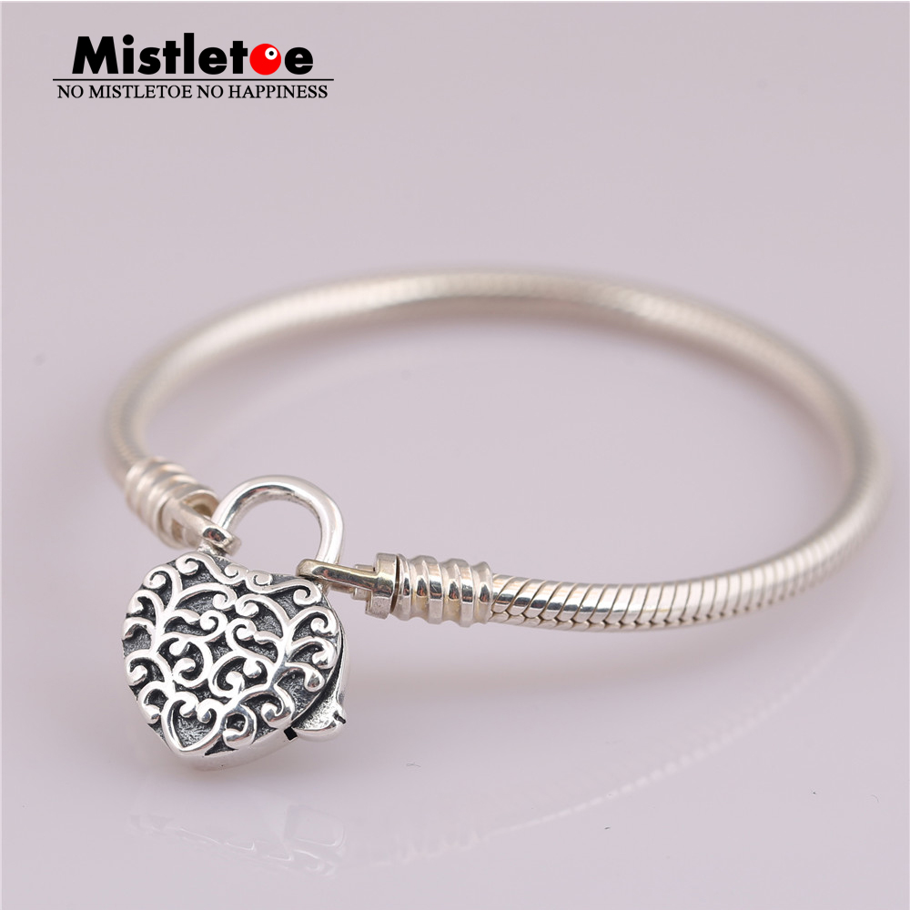 Mistletoe Authentic 925 Sterling Silver Smooth Silver Padlock Bracelet Regal Heart Snake Chain Fit European Jewelry