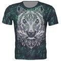 3D mostrar FT031 tamaño XS-6XL Tops hombres 2015 Punk Forest Green impresión del tigre del diseño de marca de manga corta T-Shirt envío gratis