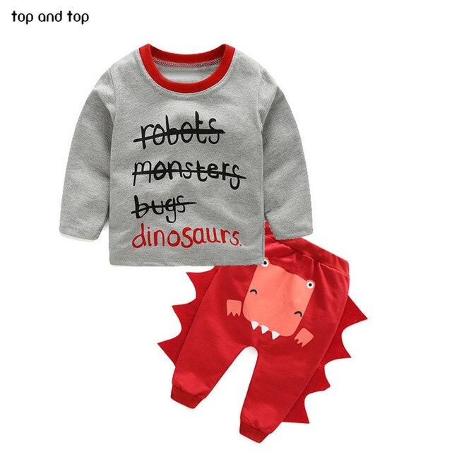 NEW Newborn Baby Girl boy clothing Autumn Infant Child letters cartoon dinosaur shirt casual pants suit kids set