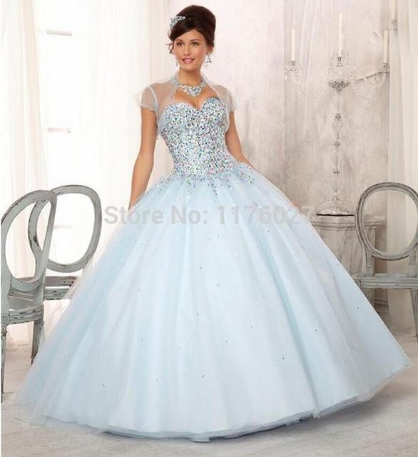 2015 de Color Azul Claro Vestido de Quinceanera Desmontable Con ...