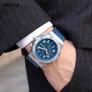 Image 5 - BAOGELA 남성용 쿼츠 시계 2019 방수 크로노 그래프 캐주얼 루미 너스 손목 시계 남성 가죽 스트랩 Relogios 1805 Blue