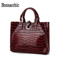 Bonsacchic Red Women Bag Tote Handbag Designer Handbags High Quality Crocodile Handbag Black Leather Bags Woman