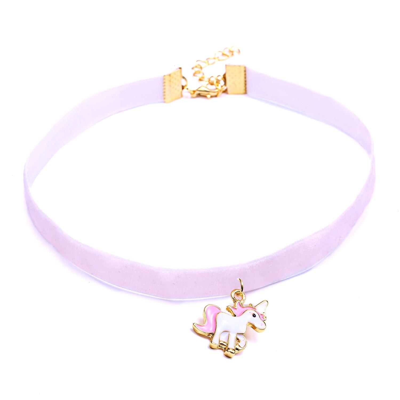 MDNEN Cute Unicorn Necklace for Women Girls Children Kids Enamel Cartoon Animal Lace Choker Necklace Pendant Party Jewelry Ожерелье
