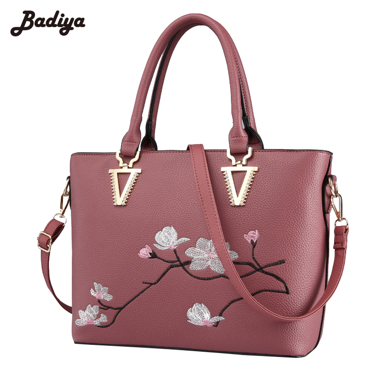 Fashion Women Embroidered Handbag PU Leather Shoulder Bags Luxury Totes Lichee Pattern Lady Bag With Metal Pendant