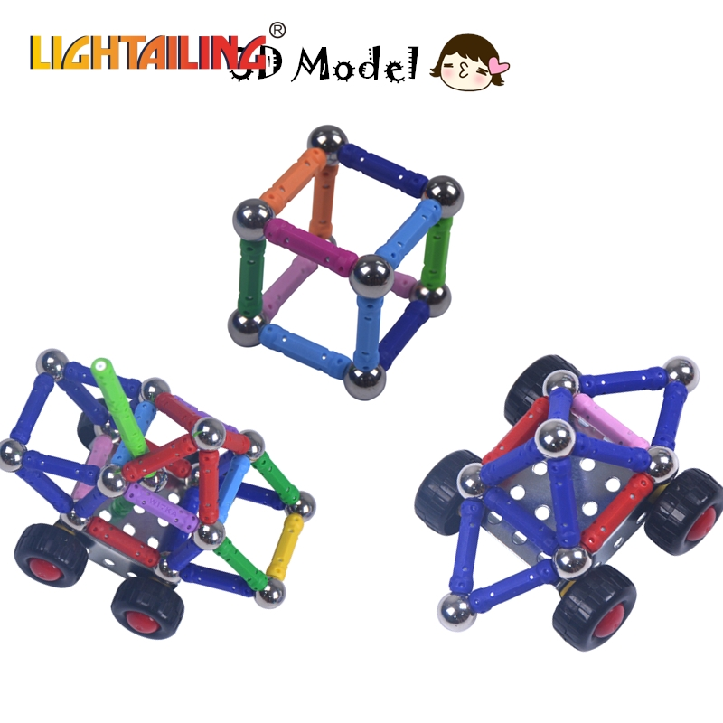 ФОТО LIGHTAILING Brand 218pcs Child Early Head Start Training Puzzle Magnetic Stick Magnet Bar building Puzzle Toy High Quality