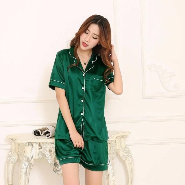 315d008045 Shorts Pajamas Women Satin Silk like Pijama Short Sleeve Top 2pc Set Plus  Size Nightwear Summer Home Clothes pyjama femme 5XL