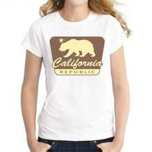 Wholesale T Shirts O-Neck Comfort Soft Short Sleeve California Bear  Shirt For Women