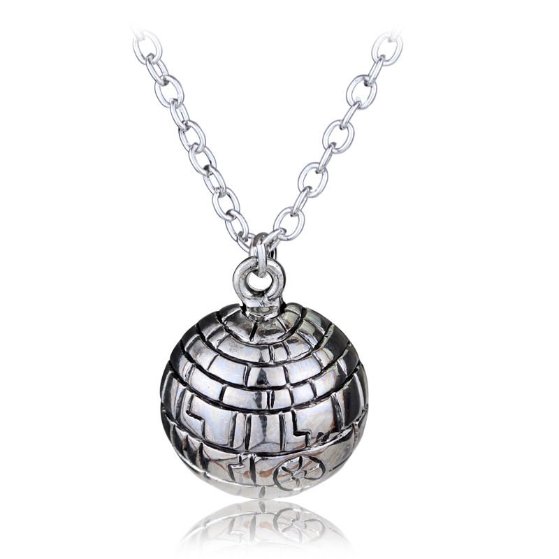 2017 Hot Movie&Game Star Wars Death Star Necklace Planet Surface Logo Pendant Death Star Necklace Silver Plated Pendant Jewelry