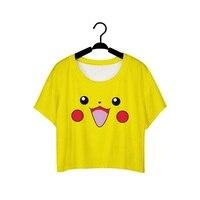 New Casual Short T Shirts Women Cropped Tops T Shirt Cute Cartoon Emoji Smile Crop Top