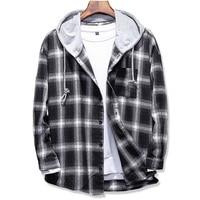 2017 Spring Autumn Men S Slim Fit Men Long Sleeve Hooded Shirt Men Plaid Shirt Male