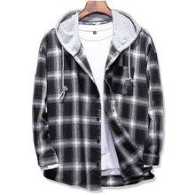 2017 Spring Autumn men's Slim Fit Men Long Sleeve Hooded Shirt Men plaid shirt Male Casual Men Shirt Large size 5XL