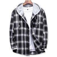 2019 Spring Autumn men's Slim Fit Men Long Sleeve Hooded Shirt Men plaid shirt Male Casual Men Shirt Large size 5XL