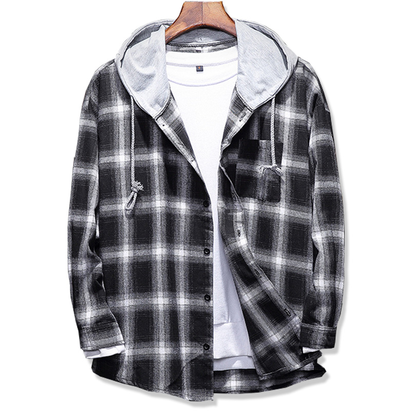 2019 Spring Autumn Men's Slim Fit Men Long Sleeve Hooded Shirt Men Plaid Shirt Male Casual Men Shirt Large Size 5XL