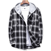 2019 Spring Autumn mens Slim Fit Men Long Sleeve Hooded Shirt plaid shirt Male Casual Large size 5XL