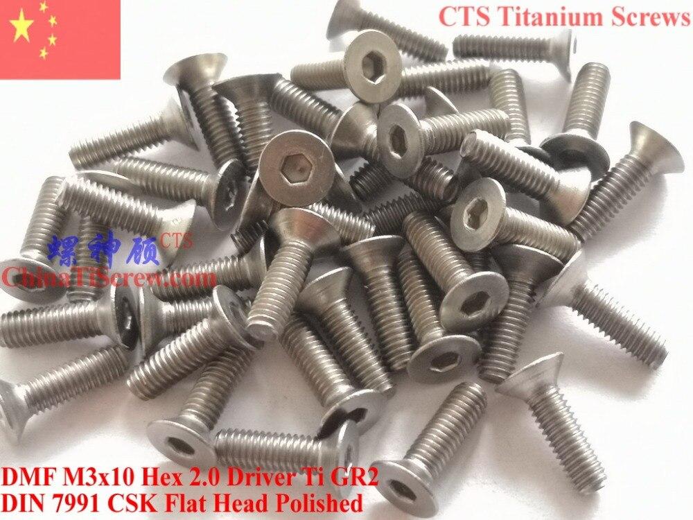 Titanium screw M3x10 DIN 7991 Flat Head Hex 2.0 Driver Ti GR2 Polished 50 pcs lodestar professional ceramic slot screw driver 0 4 x 0 9mm