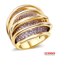 DC1989 Gold Plated Wedding Rings Hollow Deisign Woman Promise Rings Made With Aaa Cubic Zirconia Pave