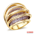 DC1989  Gold Rhodium Plated Wedding Rings Hollow Design Woman Promise Rings Synthetic Cubic Zirconia Pave Setting Lead Free