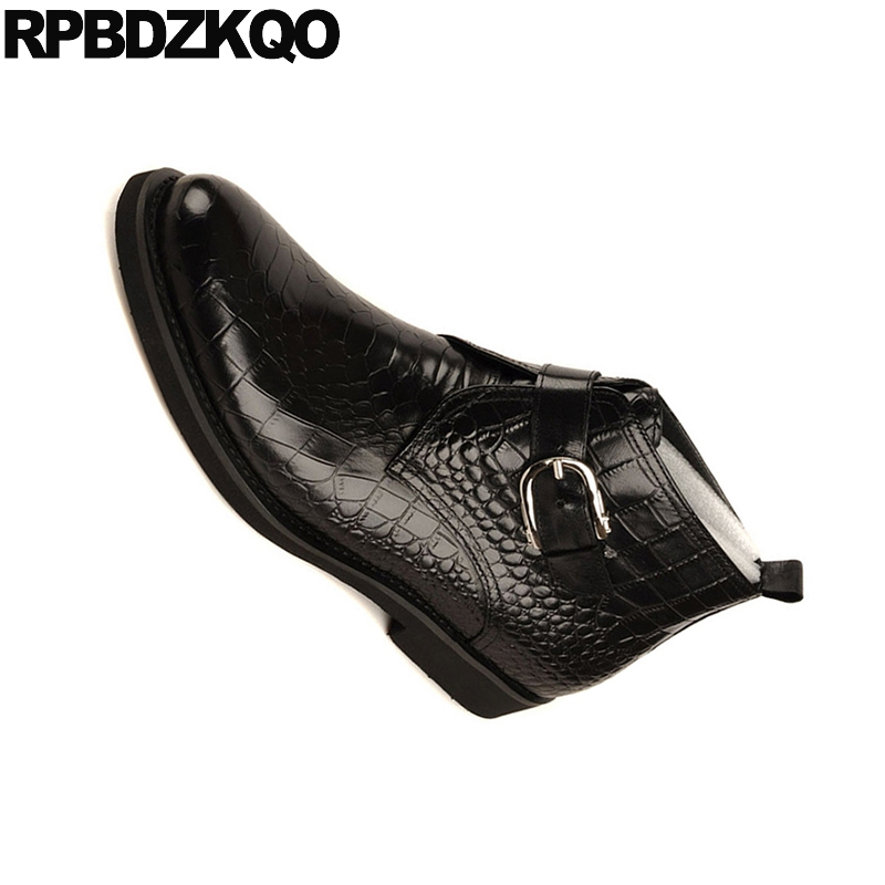 Pele Homens Artesanais Grão Vestido Preto Casamento Botas Embelezado Preto Cheio Genuína Crocodilo Sapatos marrom Outono Cobra Couro De R5q5WwMfP