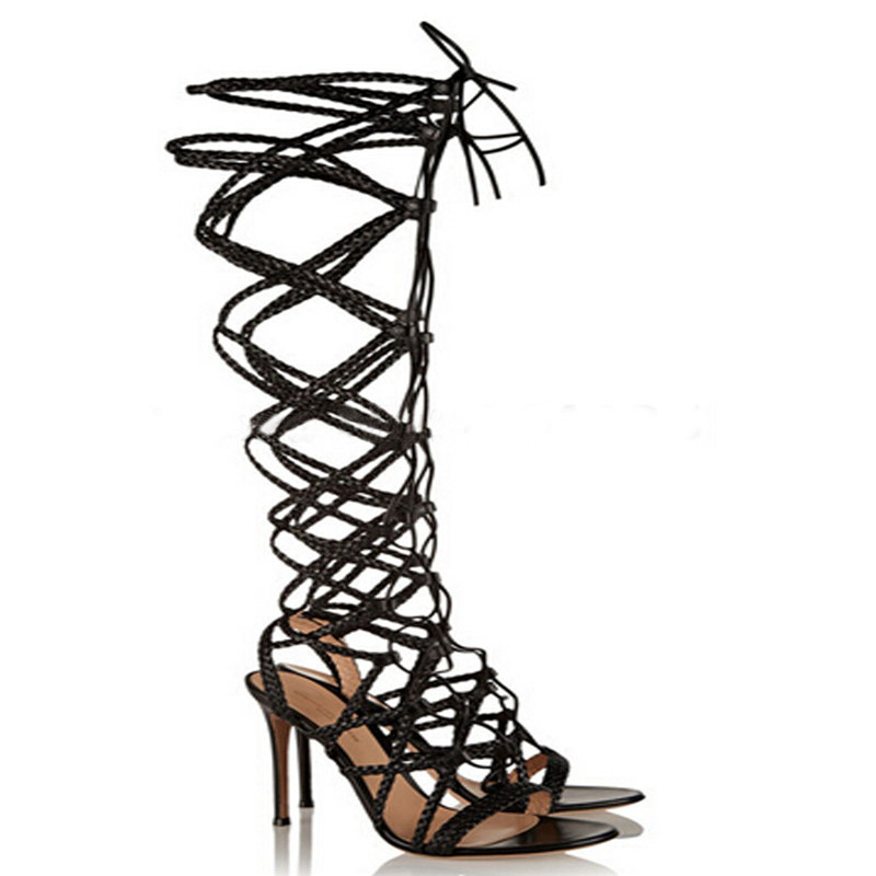 Hot selling sexy lace up high heels summer women sandals open toe cut-outs gladiator sandals boots fashion Knee High boots shoes hot sale big size 30 46 fashion summer women gladiator shoes sexy open toe pu leather slip on high heel sandals chd 66